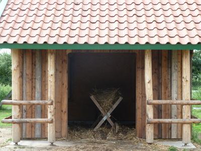 Futterkrippe in neu gebautem Stall