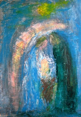 Krippenmotiv in modern gemaltem Bild