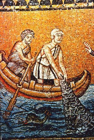Mosaik Heilige Andreas im Boot beim Netze-Einholen