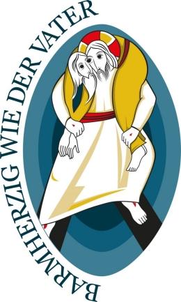 Logo Jahr der Barmherzigkeit - Mann trägt anderen auf der Schulter