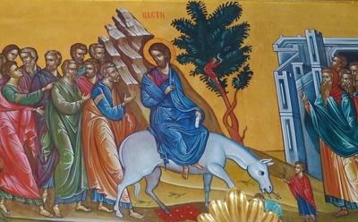 Jesus reitet auf einem Esel nach Jerusalem ein