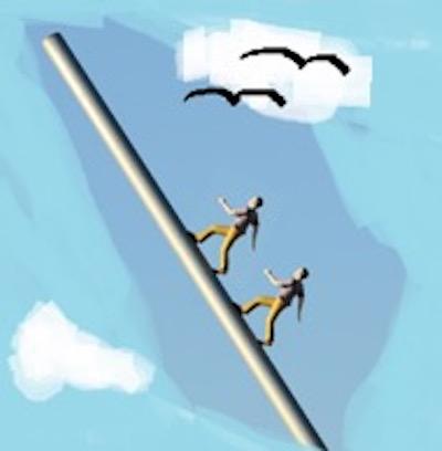 2 Personen auf einem Stahlrohr gen Himmel gehend