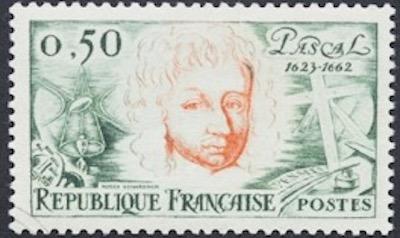 Französische Briefmarke mit Blaise Pascal