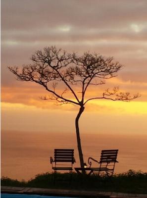 Sonnenuntergang auf dem Berg mit Baum und 2 Stühlen