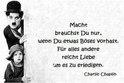 Charlie Chaplin Bild und Zitat, siehe Spur