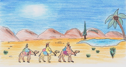 Wandbild der heiligen drei Könige auf Kamelen