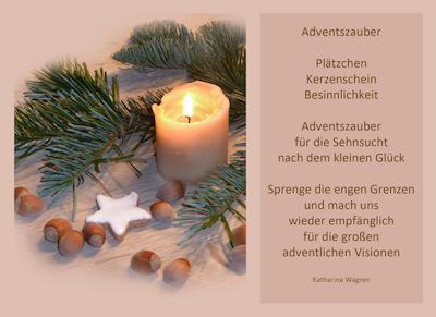 Adventsgesteck mit Text Adventszauber von Katharina Wagner
