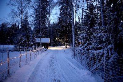 Schneeweg mit beleuchteter Hütte im Hintergrund