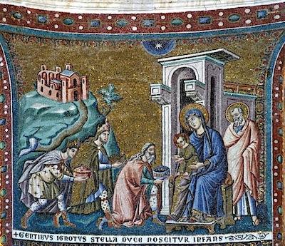 Mosaik Anbetung der Heiligen drei Könige