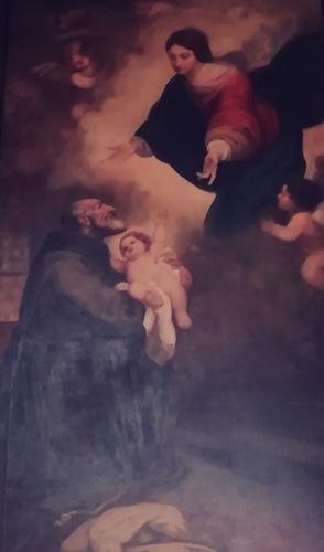 Gemälde auf dem Maria ihr Kind einem Mönch überreicht