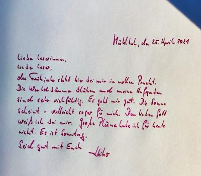 Handgeschriebener Brief mit dem Schlusssatz: Sei gut mit dir