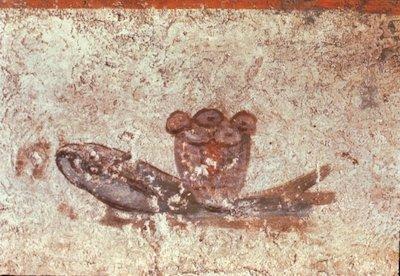 Wandmalerei mit Brot und Fisch